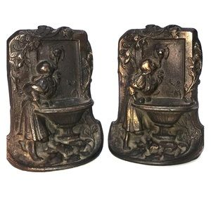 Vintage Cast Iron Bookends, Girl at the Fountain